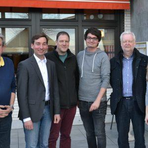 (v.l.) Fraktionsvorsitzender Norbert Spanier, Sebastian Hartmann MdB, SPD-Chef Björn Golombek, Ratsmitglied Mario Dahm, Vize-Bürgermeister Jochen Herchenbach, Ratsmitglied Hanna Meyer